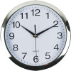 Italplast Wall Clock 26cm Round With Large Numbers Chrome Frame White Face