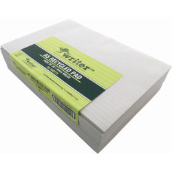Writer Recycled Pad A5 Ruled 80 Sheets