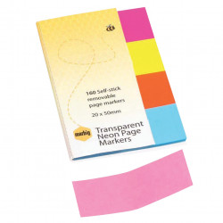 Marbig Colour Page Markers 20x50mm Translucent Neon Assorted Pack Of 4 Pads