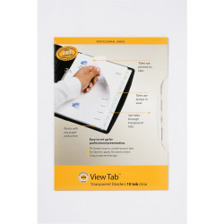 Marbig Professional Series A4 10 View Tab Dividers Transparent Clear