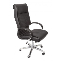 Large Executive Office Chair Chrome Based Padded Arms Soft Black PU Upholstery
