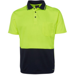 Zions Two Tone Safety Polo Shirt Short Sleeve Fluoro Yellow